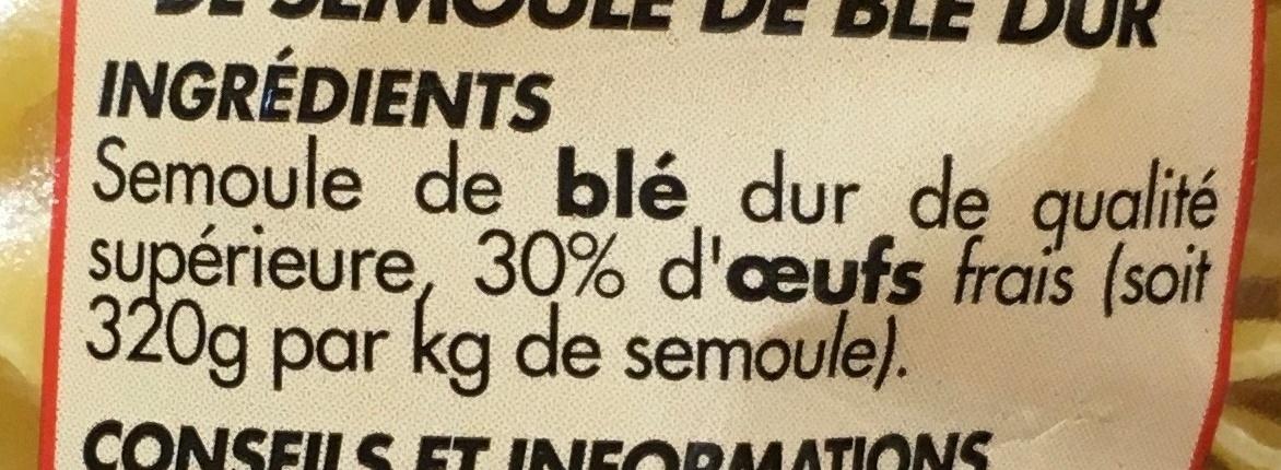 Nouilles bouclées 7 oeufs frais au kilo - Ingrediënten - fr