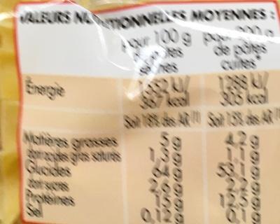 Nouilles bouclées 7 oeufs frais au kilo - Voedingswaarden