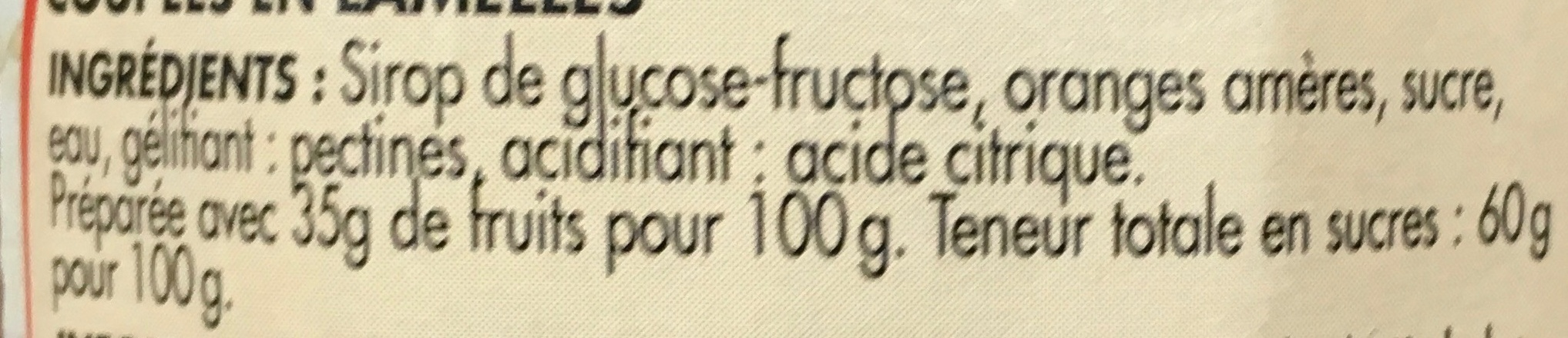 Marmelade d'Oranges - Ingrédients - fr