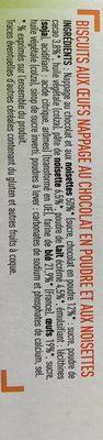 Barquettes Choco Noisette - Ingredients