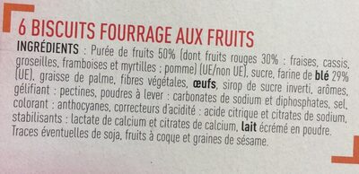 Barres fruits rouges - Ingrédients