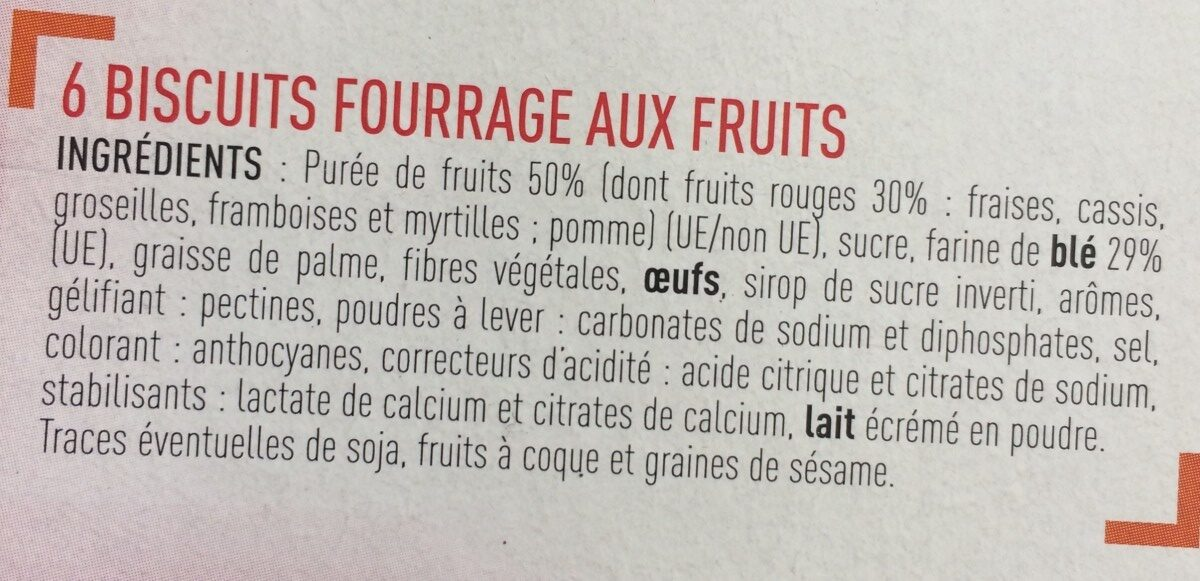 Barres fruits rouges - Ingrédients - fr