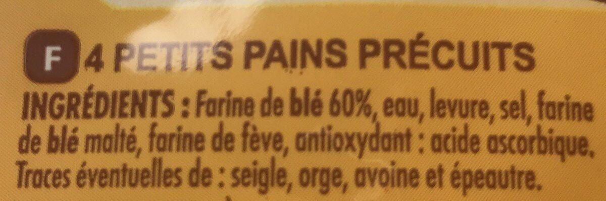 Petits pains précuits dorés et croustillants - Ingrediënten - fr