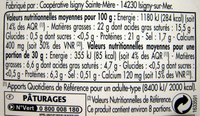 Camembert d'Isigny Bio (22% MG) - Nutrition facts