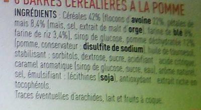 Barre de Céréales Pomme Verte - Ingrédients