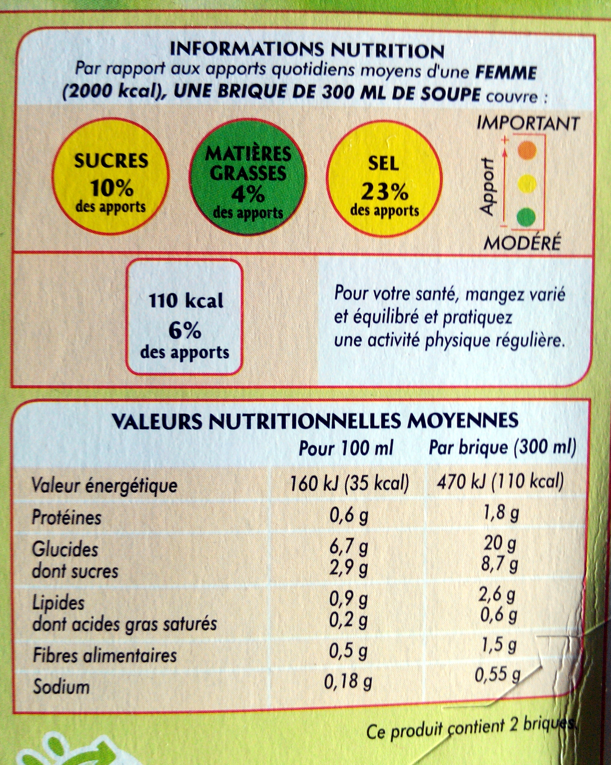 Veloute tomates basilic - Nutrition facts