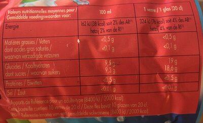 Boisson Pêche abricot - Informations nutritionnelles - fr