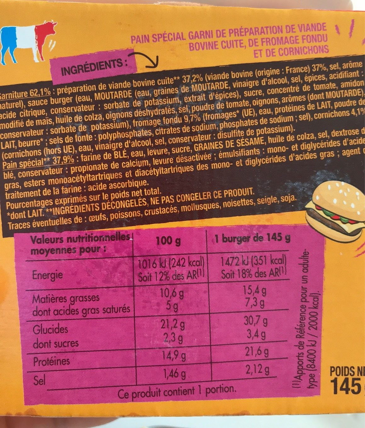 Le classic cheese burger - Informations nutritionnelles - fr
