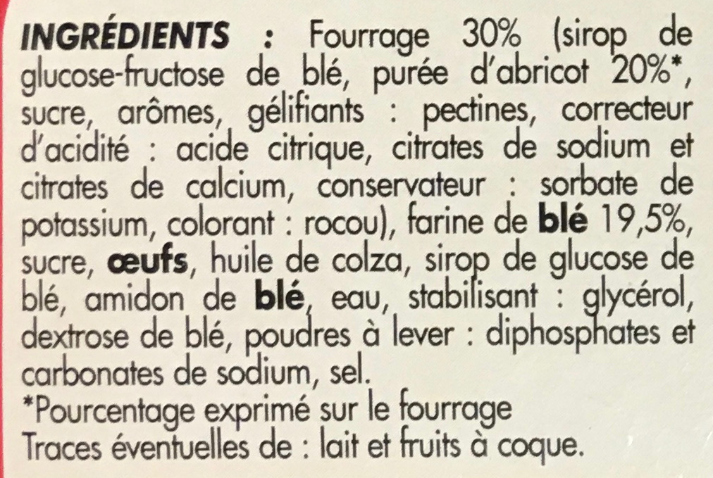 Mini fourrés à l'abricot - Ingrédients
