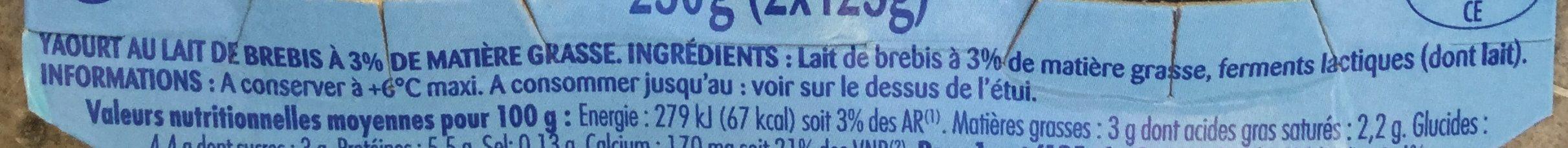 Yaourt pur brebis - Ingrediënten