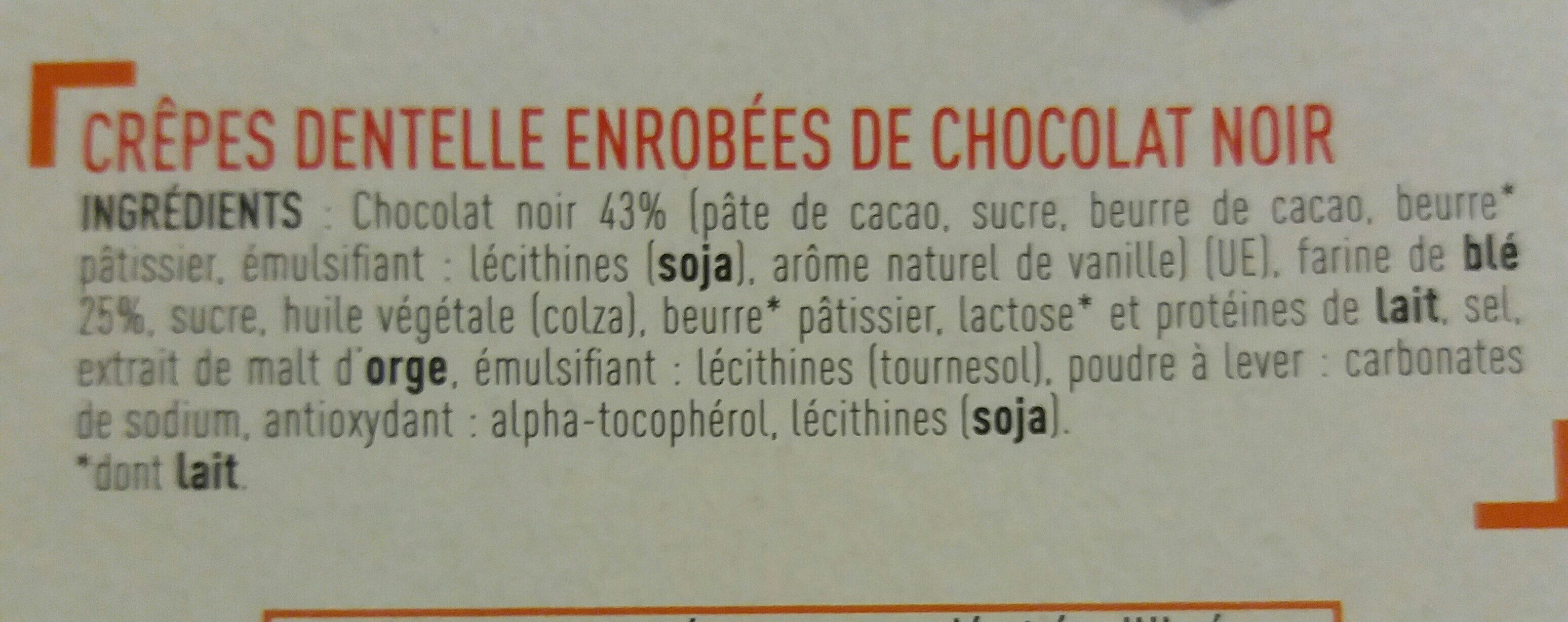 Crêpes dentelle au chocolat noir - Ingrediënten