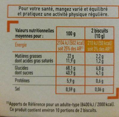 Crêpes dentelle au chocolat noir - Voedingswaarden