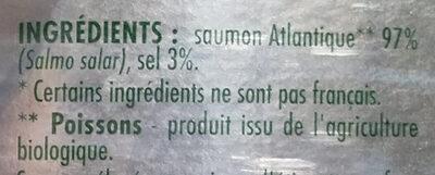 Saumon Atlantique fumé bio - Ingredients - fr