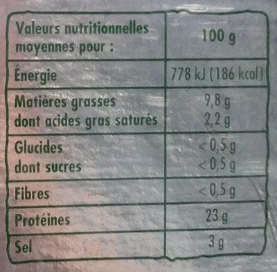 Saumon Atlantique fumé bio - Nutrition facts - fr