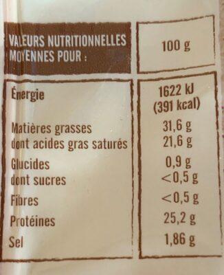 Abondance - Informations nutritionnelles