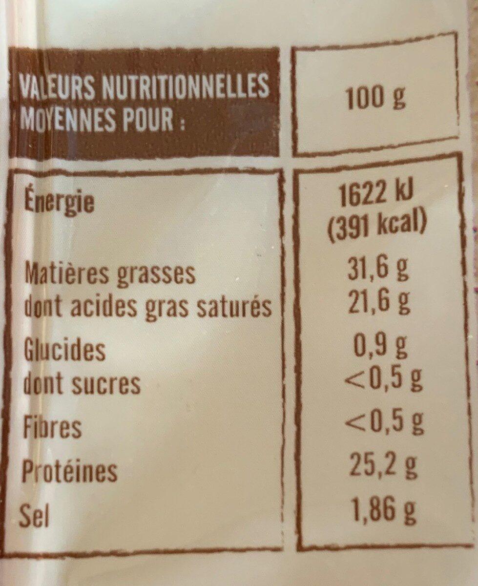 Abondance - Valori nutrizionali - fr