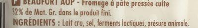 Beaufort aop au lait cru - Ingrédients - fr