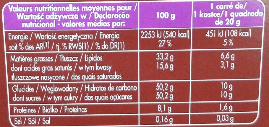 Lait Raisins & Noisettes Producteurs & commerçants - Voedingswaarden - fr