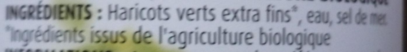 Haricots Verts Extra fins cueillis et rangés mains Bio - Ingrédients - fr
