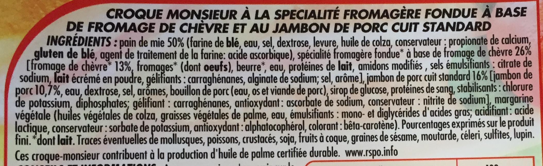 Croc' Monsieur Jambon Chèvre - Ingrediënten - fr