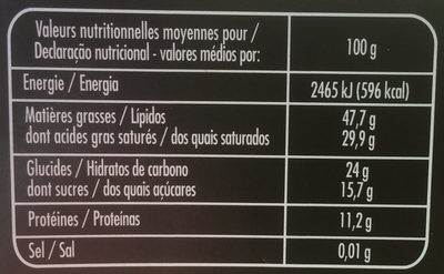 Chocolat Noir Dégustation 85% de Cacao - Nutrition facts