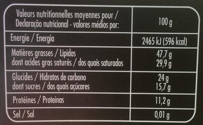 Chocolat Noir Dégustation 85% de Cacao - Informação nutricional
