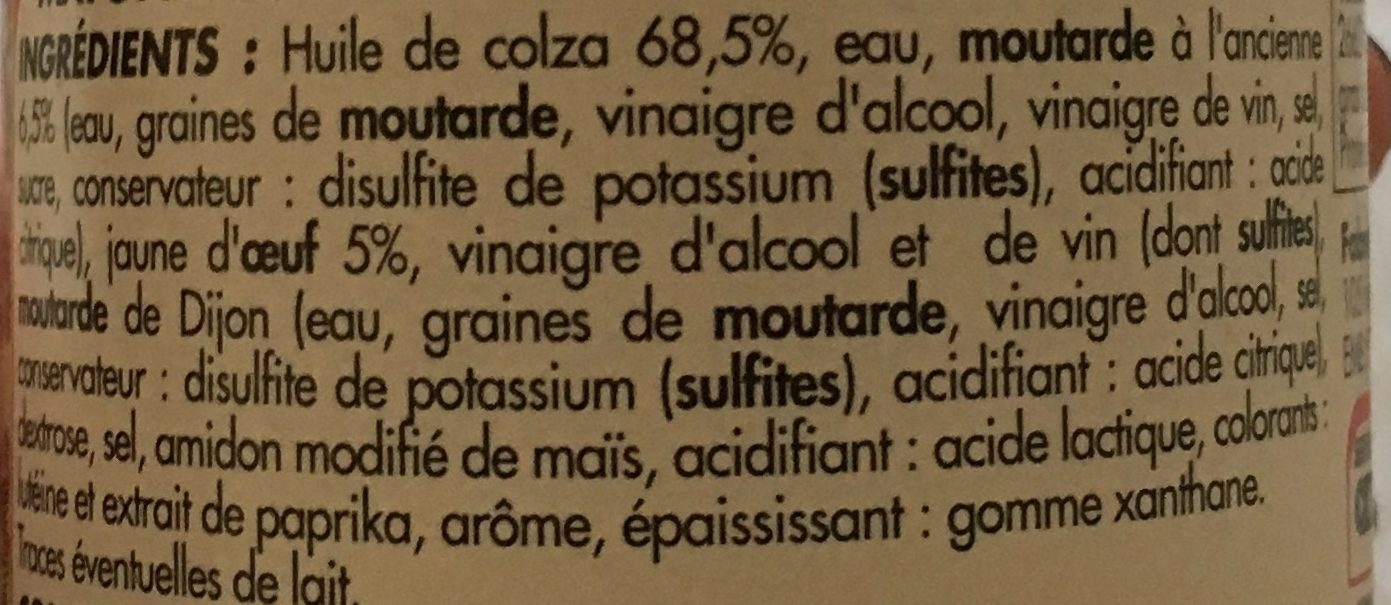 Netto Mayonnaise Moutarde Ancienne - Ingredients - fr
