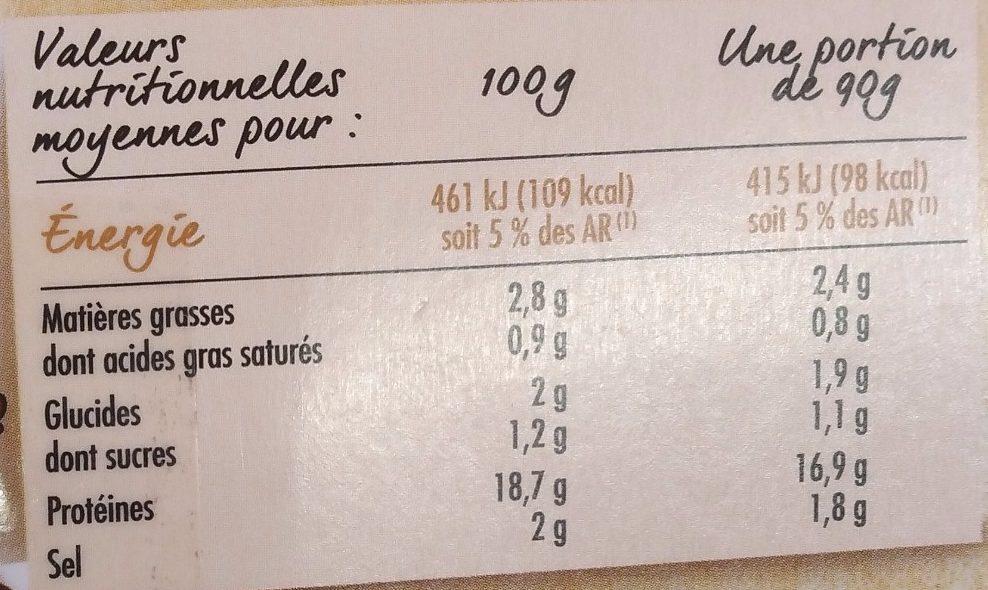 Rôti de filet de poulet cuit Nature - Informations nutritionnelles - fr