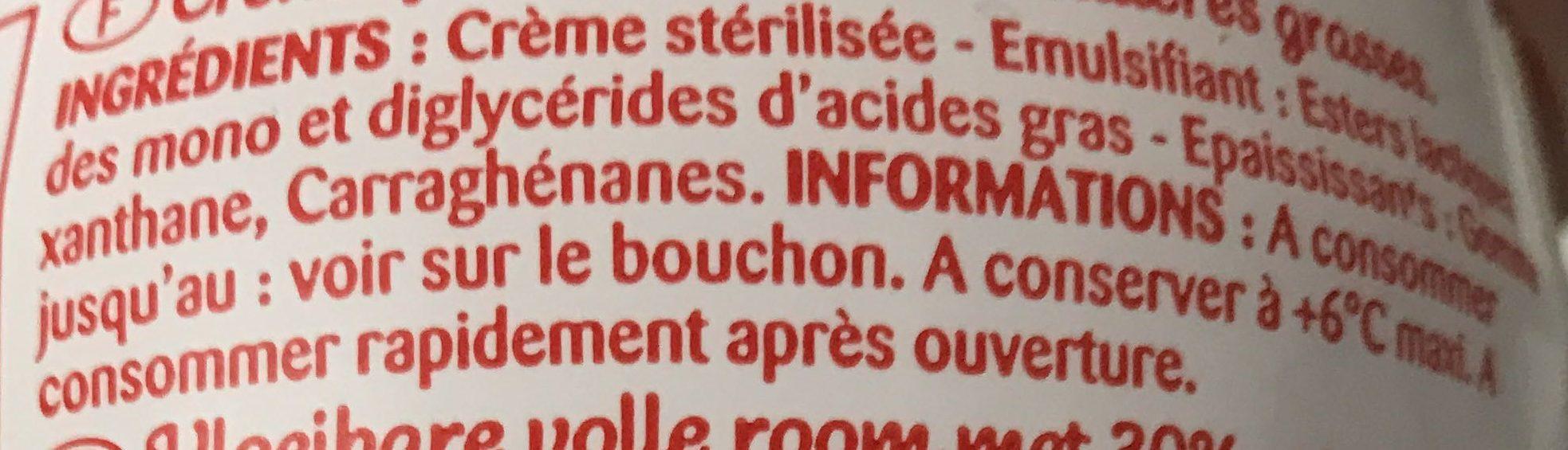 Crème fleurette entière - 30% mat.gr - Ingrédients - fr