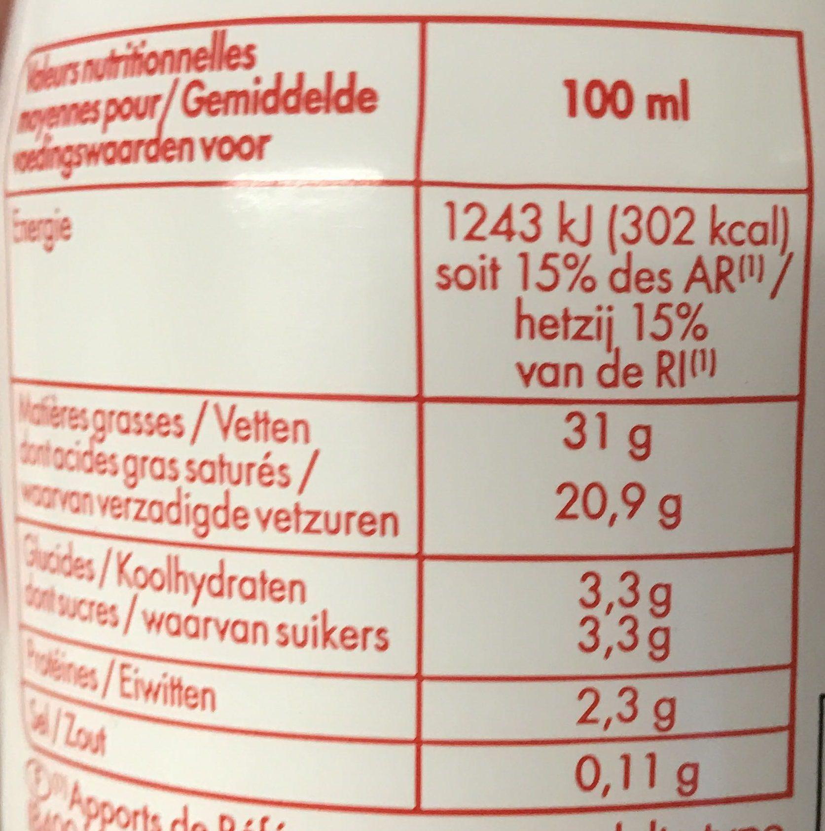 Crème fleurette entière - 30% mat.gr - Informations nutritionnelles - fr