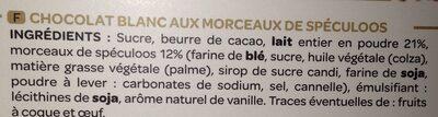 Chocolat blanc eclats de speculoos - Ingrédients - fr