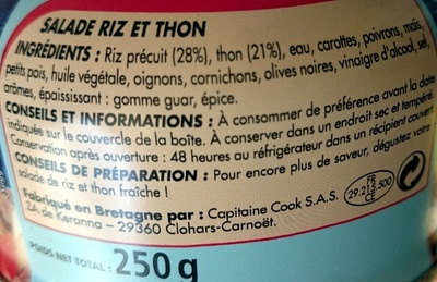 Salade Riz et Thon - Ingredients - fr