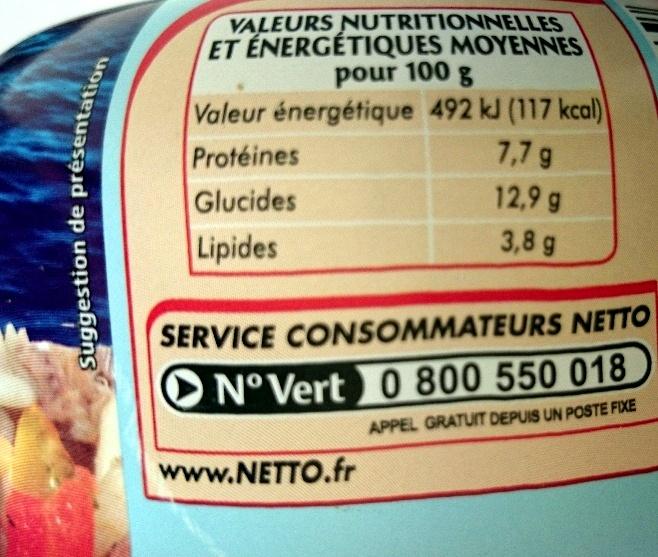 Salade Riz et Thon - Nutrition facts - fr