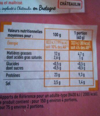 saumon fumé ecosse - 75g - Nutrition facts - fr