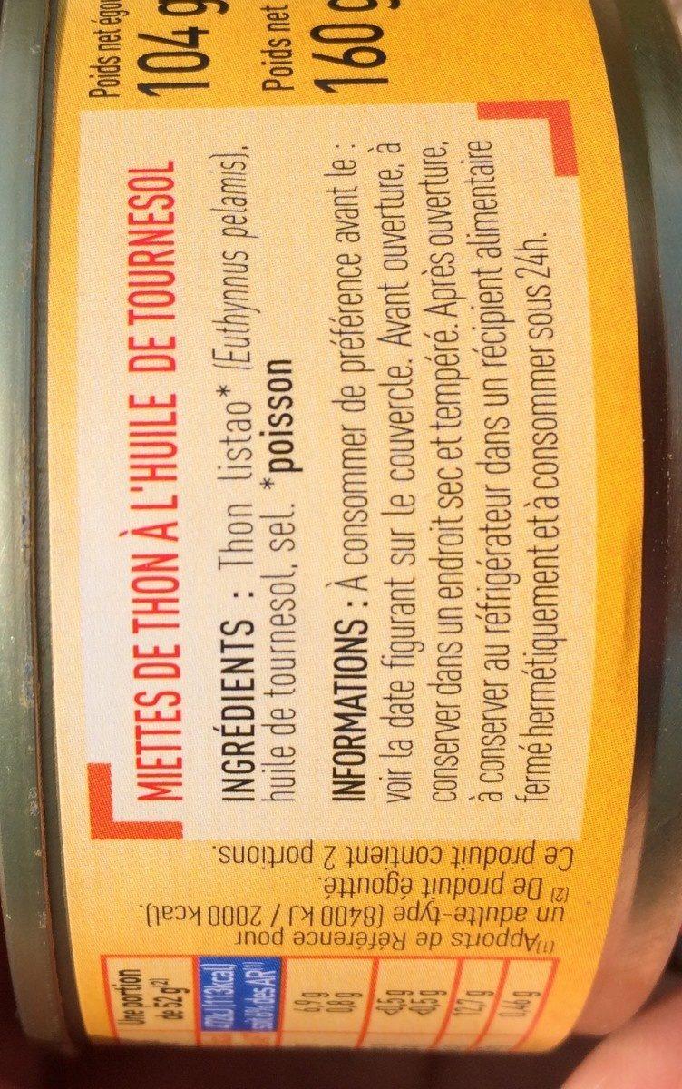 Miettes de thon - Ingredienti - en