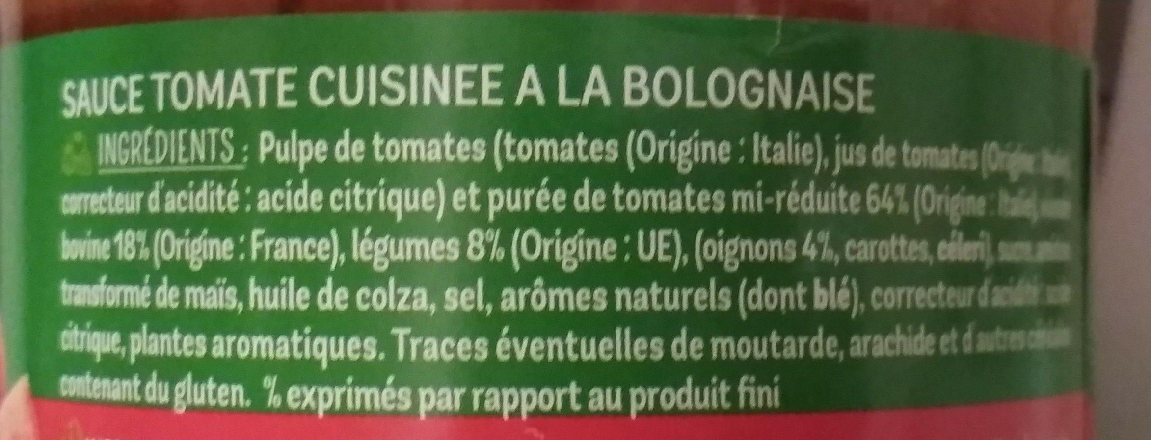 Sauce Bolognaise - Ingredients - fr