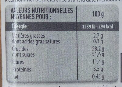 Figues Lerida - Nutrition facts - fr