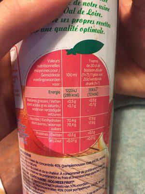Sirop de Pamplemousse Rose - Ingredients
