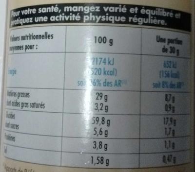 Tuiles salées - Nutrition facts