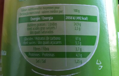 Tuiles saveur crème oignon - Informations nutritionnelles - fr