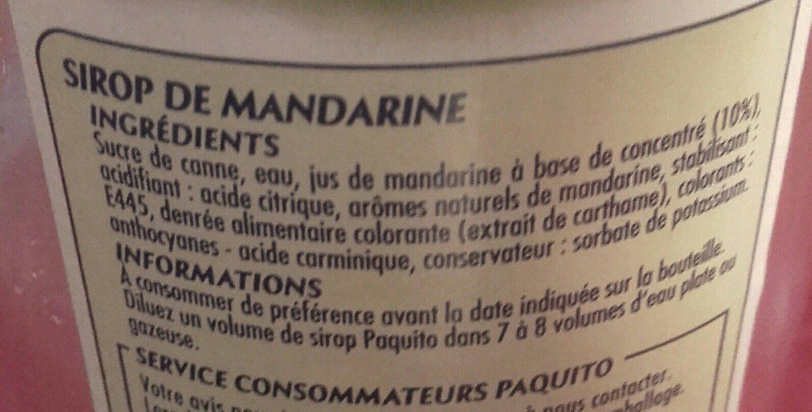 Sirop de mandarine - Ingrediënten