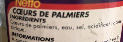 Coeurs De Palmiers Jar - Ingrédients