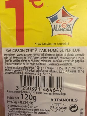 Saucisson a l'ail, le paquet de 8 tranches - Ingredients