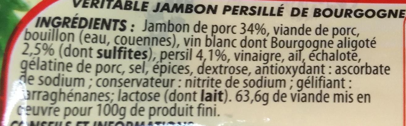 Jambon Persillé de Bourgogne - Ingrédients