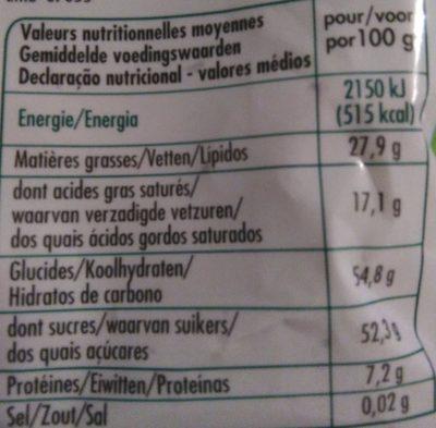 Pépites de Chocolat - Nutrition facts