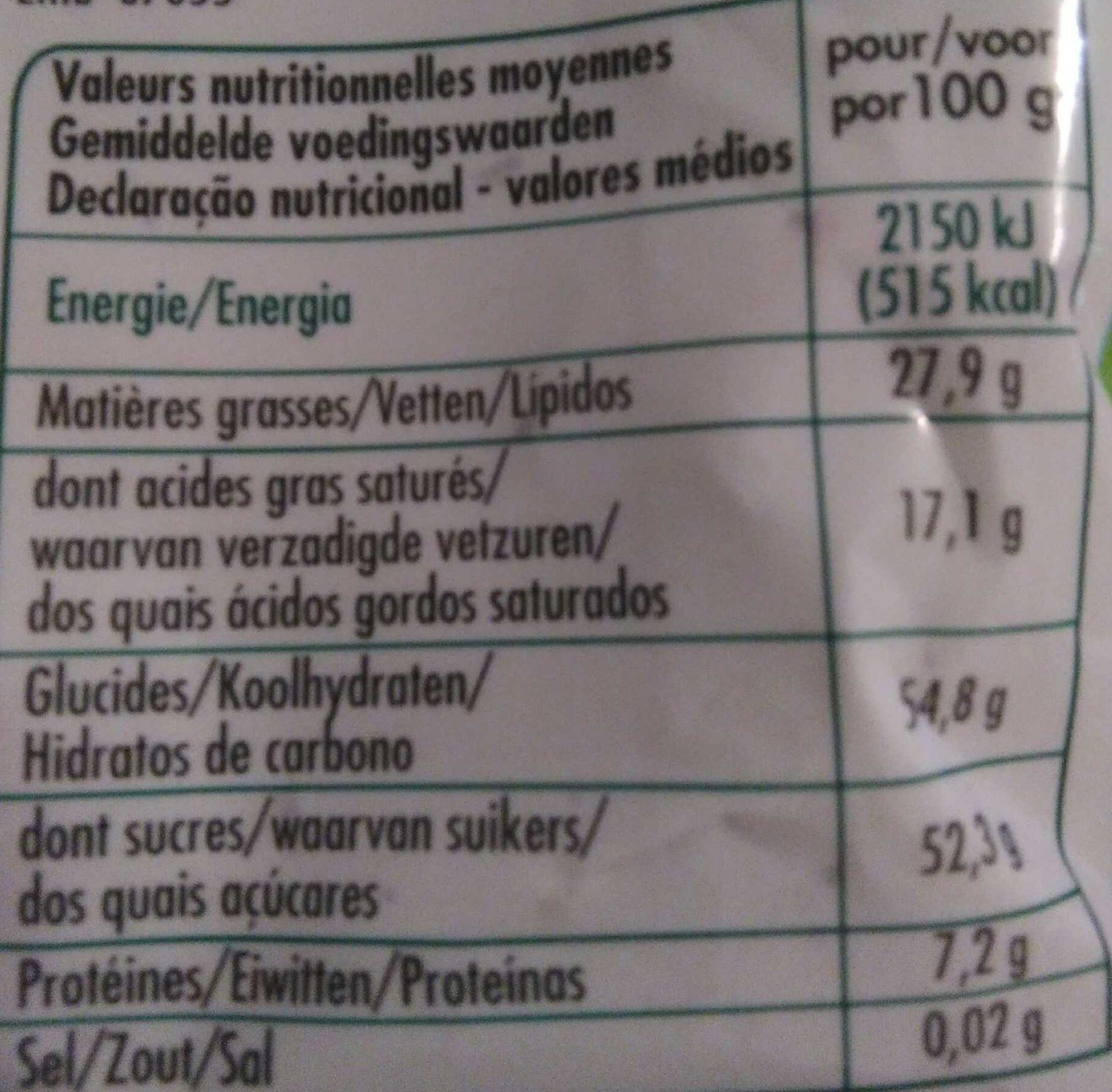 Pépites de Chocolat - Informations nutritionnelles - fr