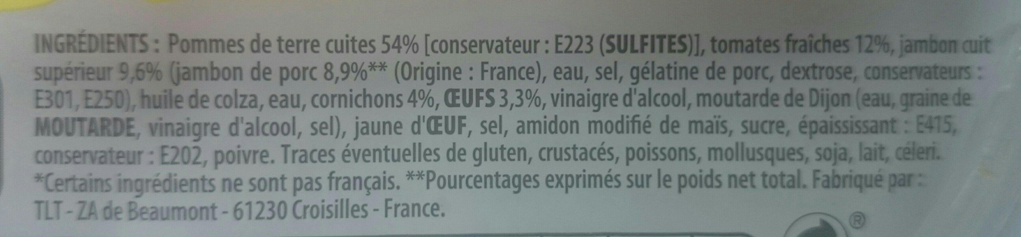 Piemontaise jambon supérieur et tomates fraîches - Ingrédients