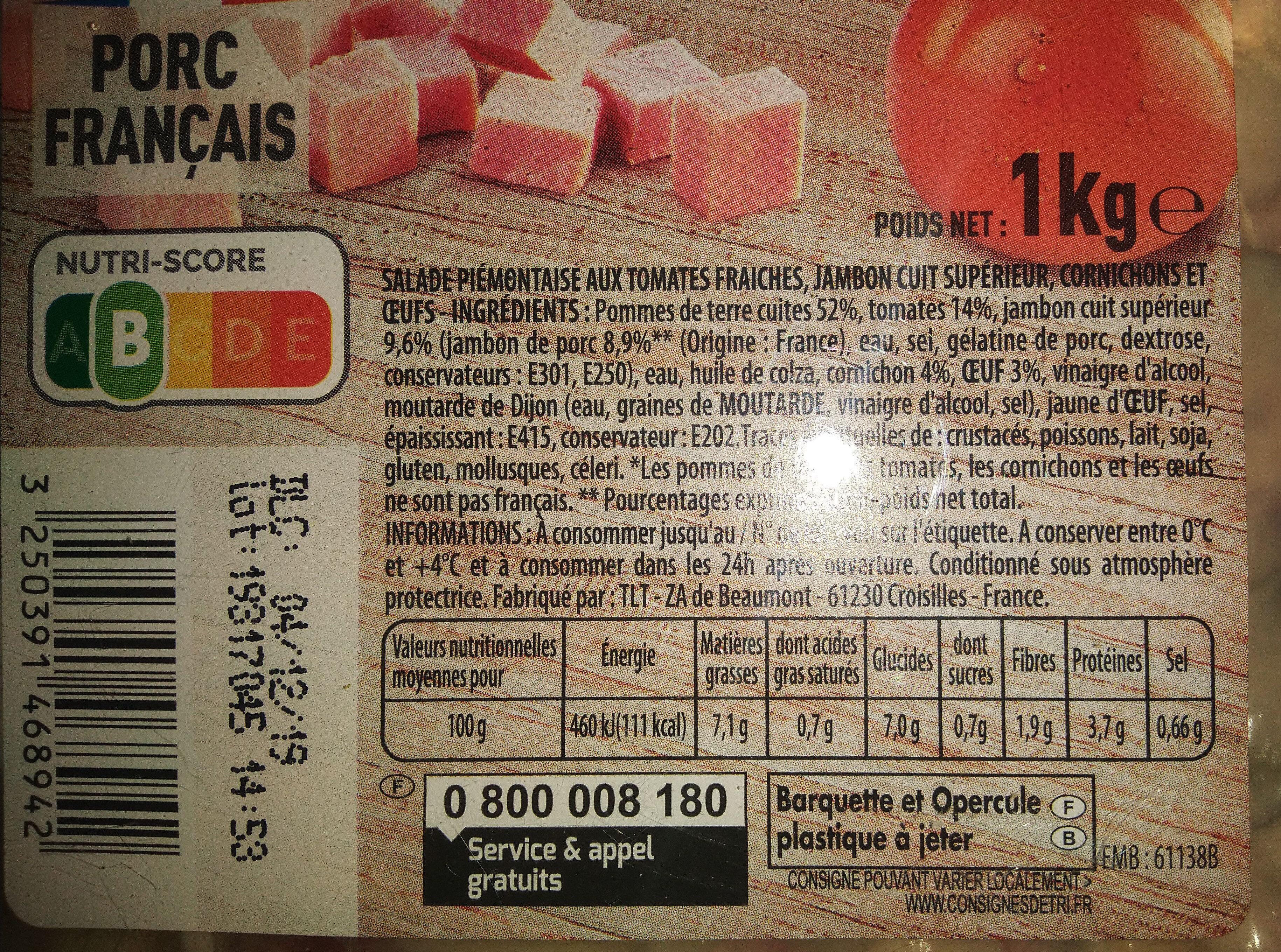 Piémontaise - Jambon Supérieur & tomates fraîches - Ingrédients