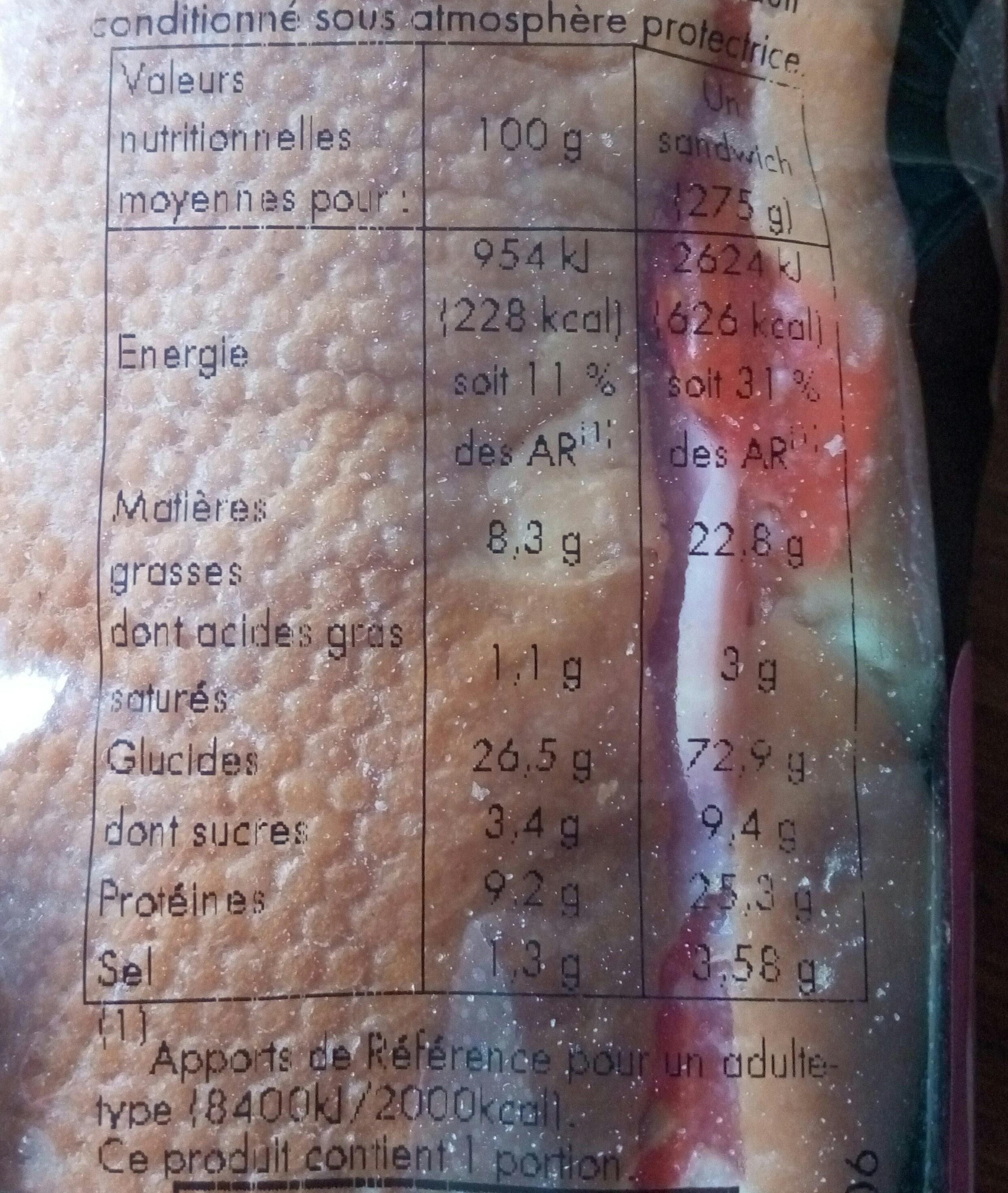 Sandwich Jambon Crudité Mayonnaise, - Informations nutritionnelles - fr