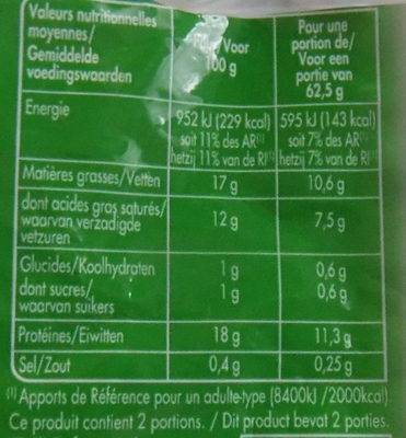 Mozzarella Bio - Nutrition facts - fr
